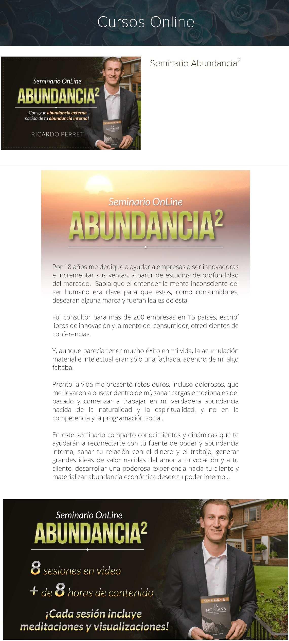 Seminario Abundancia al Cuadrado - Ricardo Perret. ¡Consigue Abundancia externa, nacida de tu abundancia interna!